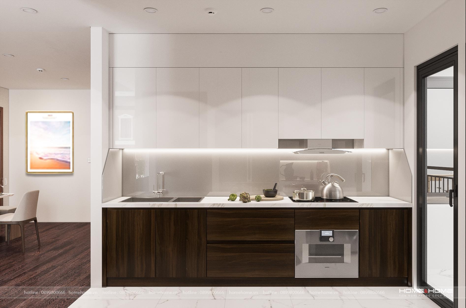 Thiết kế nội thất bếp chung cư có nên lựa chọn gỗ công nghiệp